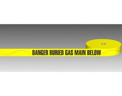 U/Ground Tape DANGER - BURIED GAS MAIN BELOW 100mmx250m - DETECTABLE