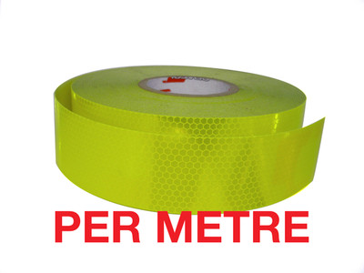 50mm Class 1 Tape FLUORO YELLOW-GREEN - PER METRE