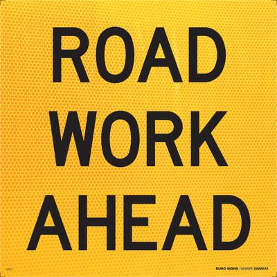ROAD WORK AHEAD 600x600 Corflute HI-INT BLK/YELLOW
