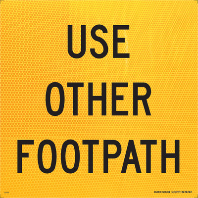 USE OTHER FOOTPATH 600x600 Corflute HI-INT BLK/YELLOW