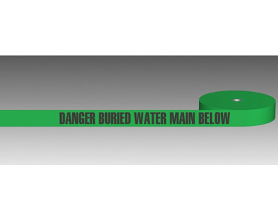 U/Ground Tape DANGER - BURIED WATER MAIN BELOW 100mmx250m - PLAIN
