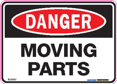 DANGER MOVING PARTS 125x90 DECAL
