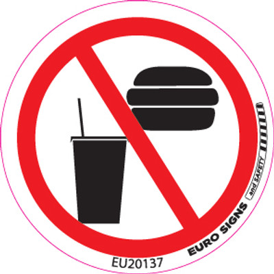 NO FOOD/DRINK 50MM DIA DECAL