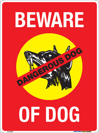 BEWARE OF DOG - 225x300 MTL