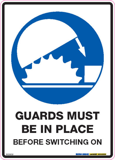 GUARDS MUST BE IN PLACE 180x250 DECAL