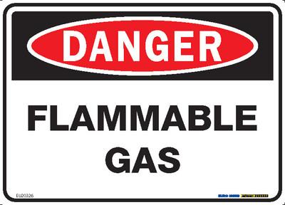 DANGER FLAMMABLE GAS 250x180 DECAL