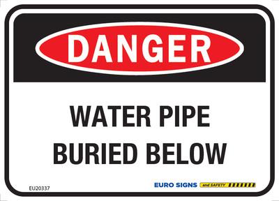 DANGER WATER PIPE BURIED BELOW 125x90 ALUM CLASS 2