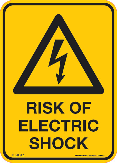 RISK OF ELECTRIC SHOCK 90x125  DECAL