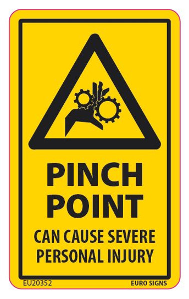 PINCH POINT CAN CAUSE PERSONAL INJURY 55x90 DECAL