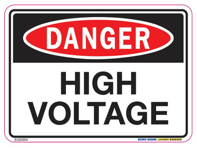 DANGER HIGH VOLTAGE 125x90 DECAL