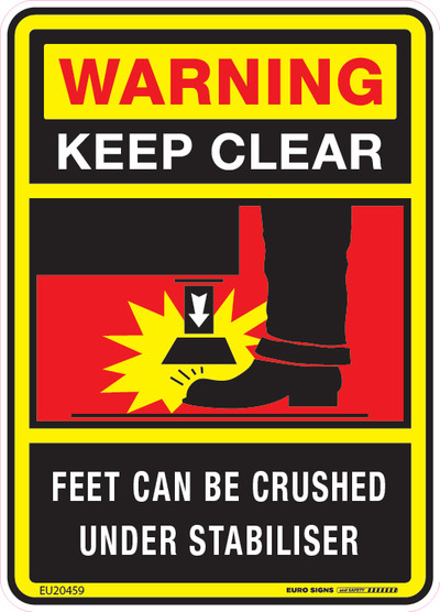 WARNING - FEET CAN BE CRUSHED UNDER STABILISER 90x125 DECAL