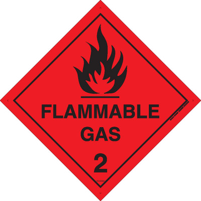 Class Label FLAMMABLE GAS 2 100x100 DECAL