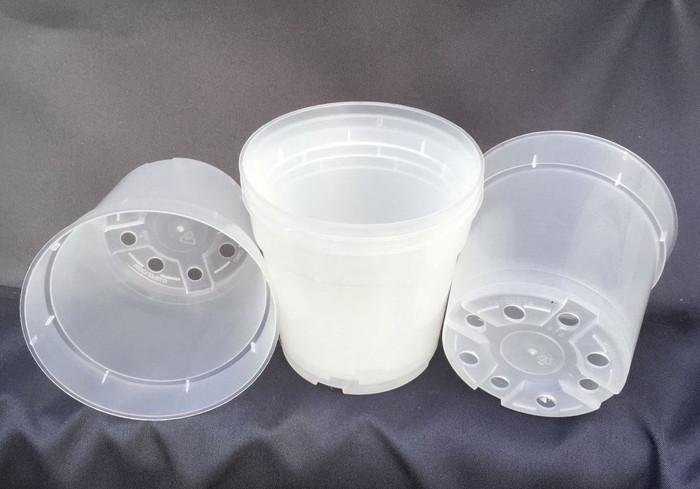 """Clear Plastic 4"""" Round Pots (5 pots)"""