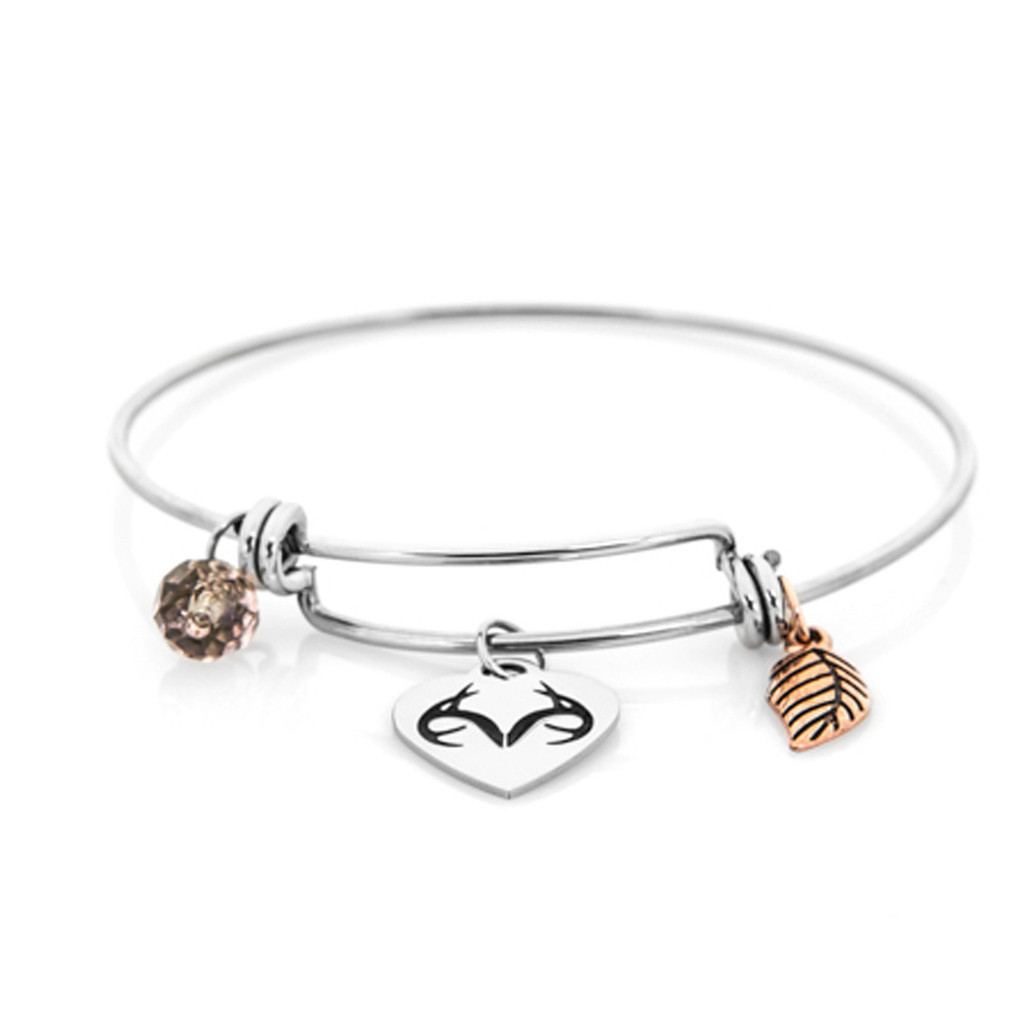 Realtree Charm Bangle-Stainless Steel Bracelet Flat Image