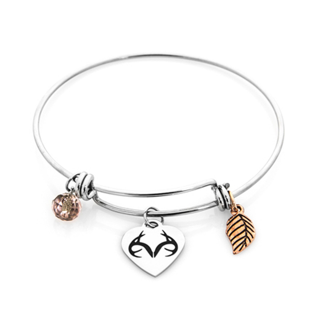 Realtree Charm Bangle-Stainless Steel Bracelet | Realtree Camo Jewelry