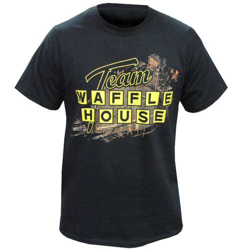 Sprayed Waffle House Logo Black T-Shirt