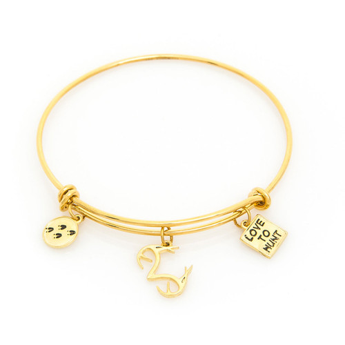 Realtree Love to Hunt Charm Bangle Bracelet in Gold