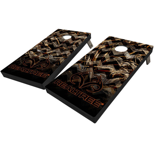 Realtree Antler Logo Chevron Overlaid Cornhole Boards