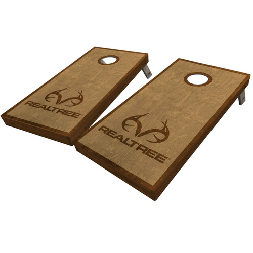 Realtree Antler Logo Stained Cornhole Boards