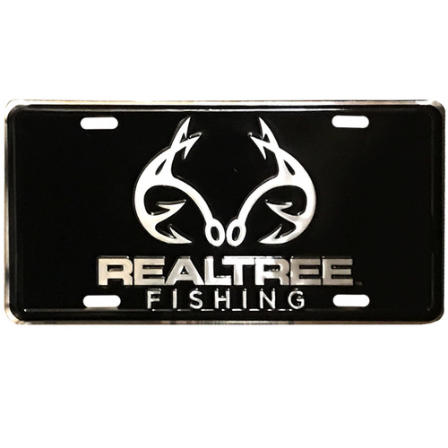 Realtree Fishing Logo Black License Plate
