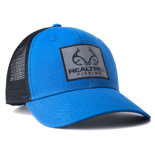 custom realtree blue fishing logo mesh back hat realtree