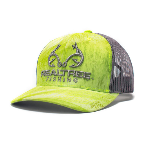 Realtree Logo Green Fishing Pattern Hat