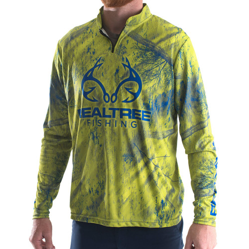 Professional Realtree Fishing Green Banded Zipper Jersey