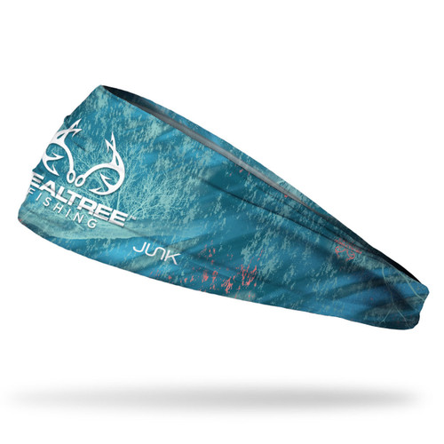 Realtree Fishing Aqua Camo Headband with White Logo