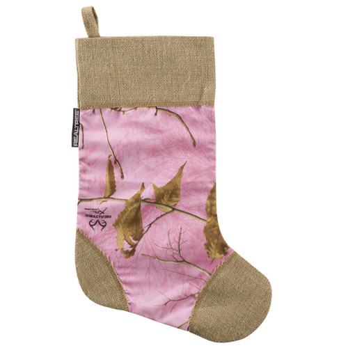 Realtree Xtra Pink and Burlap Christmas Stocking