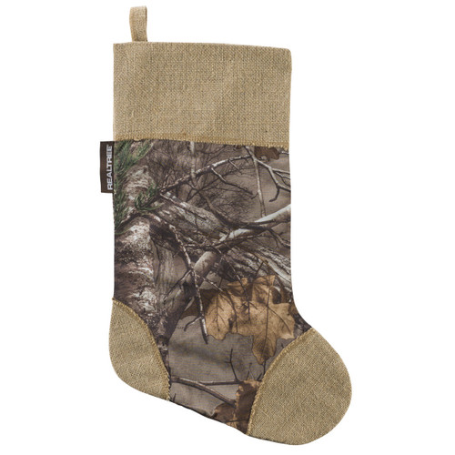 Realtree Xtra and Burlap Christmas Stocking