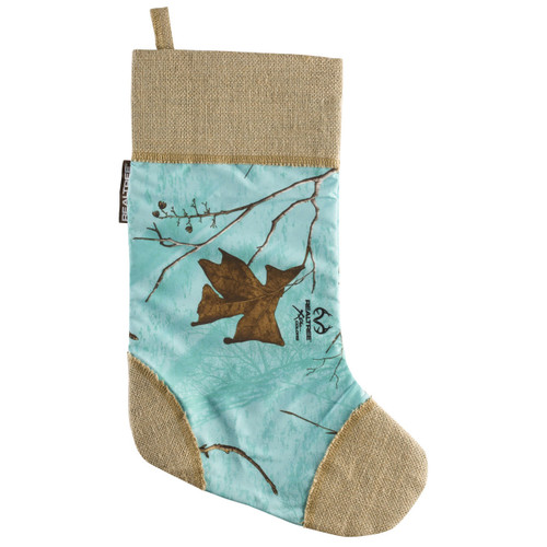 Realtree Xtra Mint and Burlap Christmas Stocking
