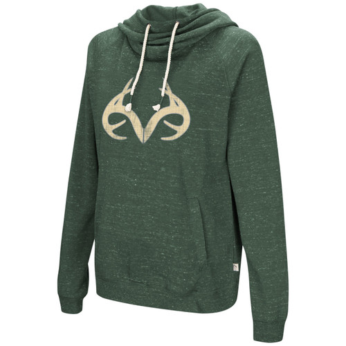 Women's Speckled Yarn Cowl Neck Hoodie in Green