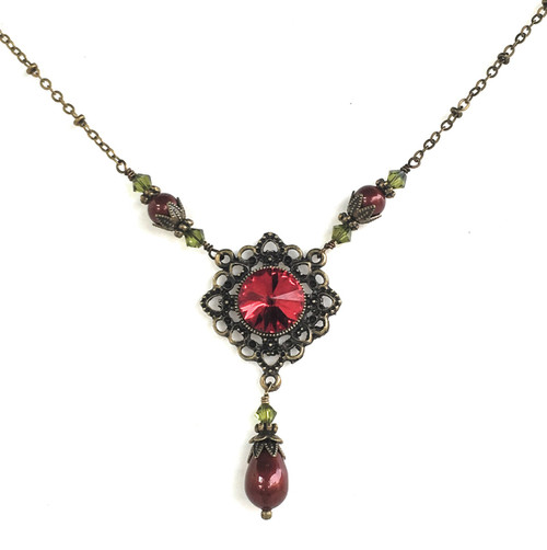 Romantic red crystal filigree pendant necklace with crystals from romantic red crystal filigree pendant necklace with crystals from swarovski aloadofball Gallery