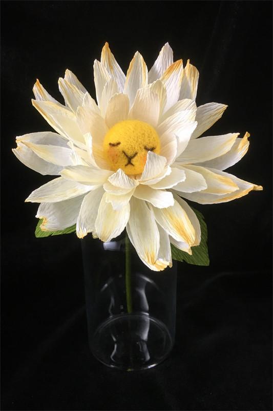 Yellow Dahlia Flower Bun 1 by plushPLAY