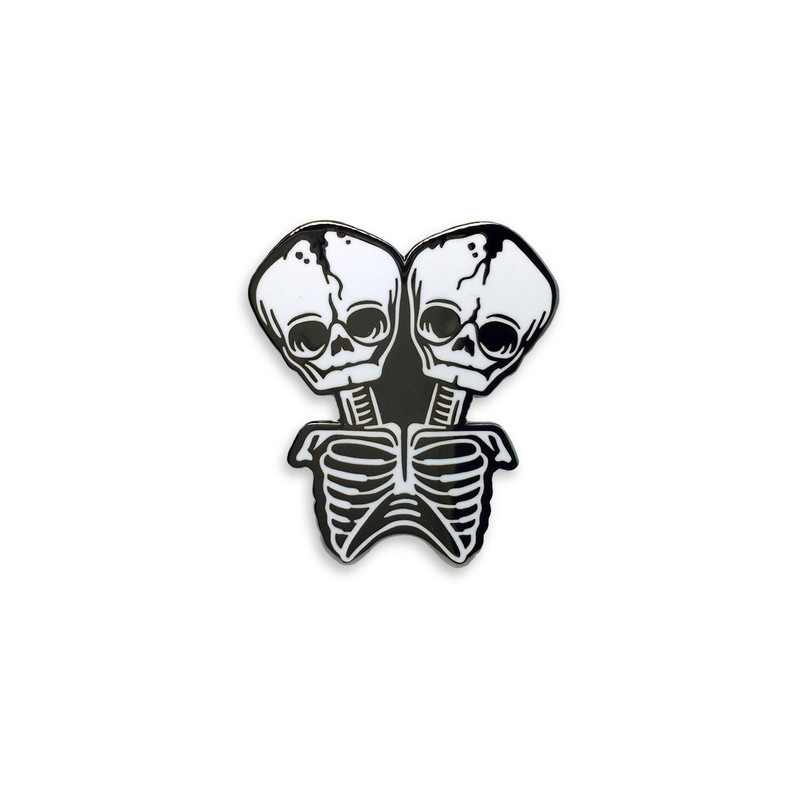 Conjoined Skeleton Enamel Pin