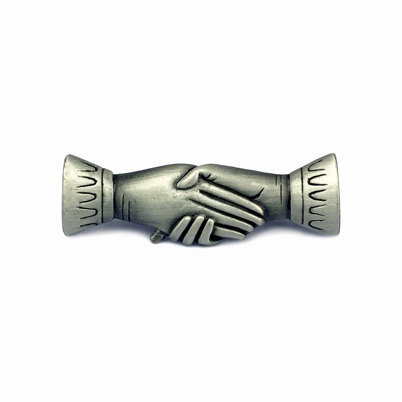 Victorian Clapsed Hands Pewter Lapel Pin