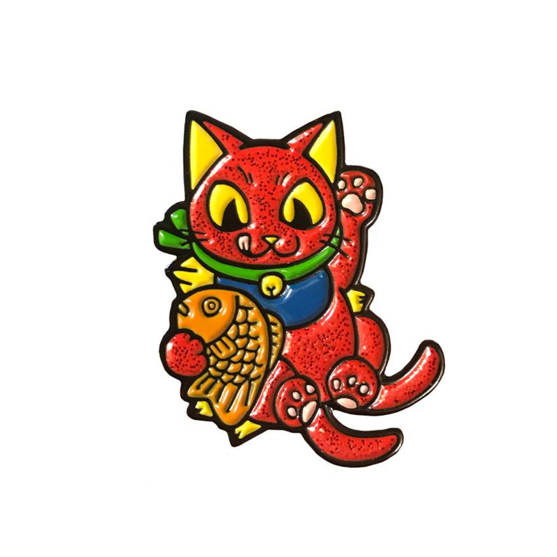 Negora Taiyaki Pin : Red Glitter and GID