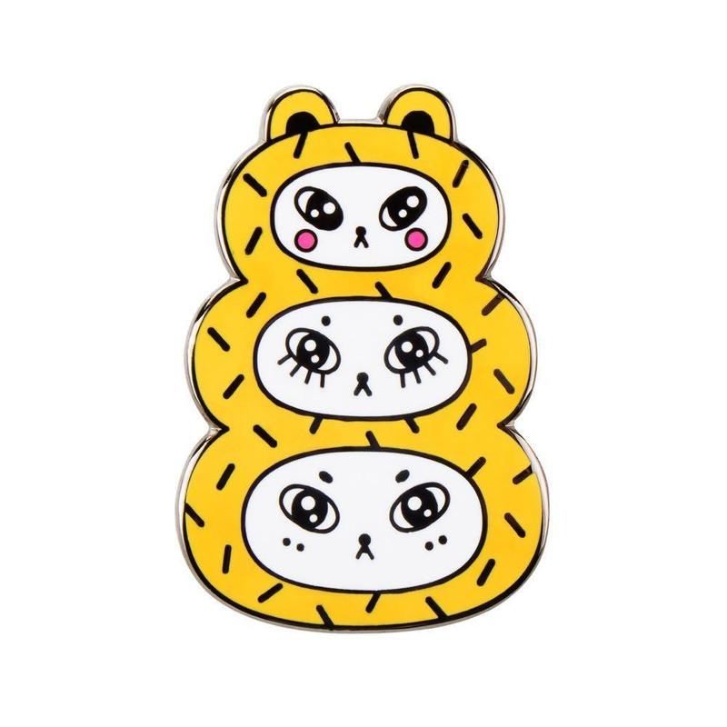 Three Bears Gold Enamel Pin