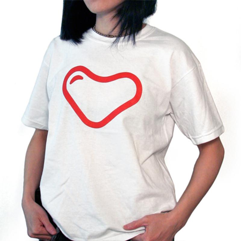 myplasticheart Tee: Red Heart on White