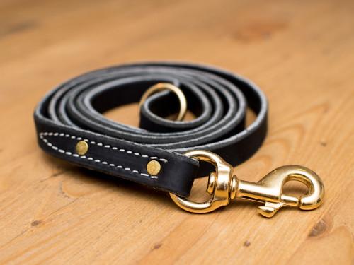 "Premium Leather Leash 3/4"" Heavy Duty Leash"