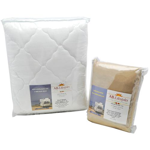 Combo Pack  RV/Camper Short Queen Deep Pocket Sheet Set AND Mattress Pad