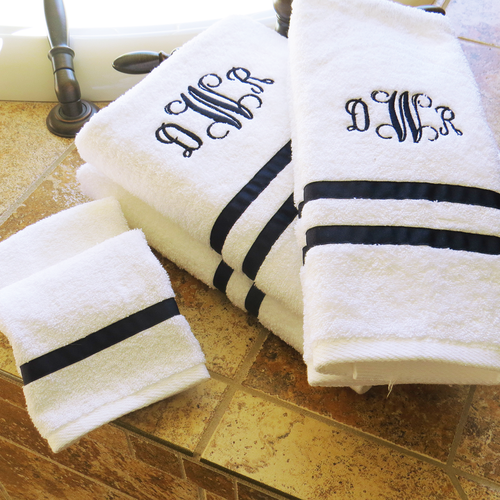 Monogrammed Charleston Towel Set with Heirloom Ribbon Trim