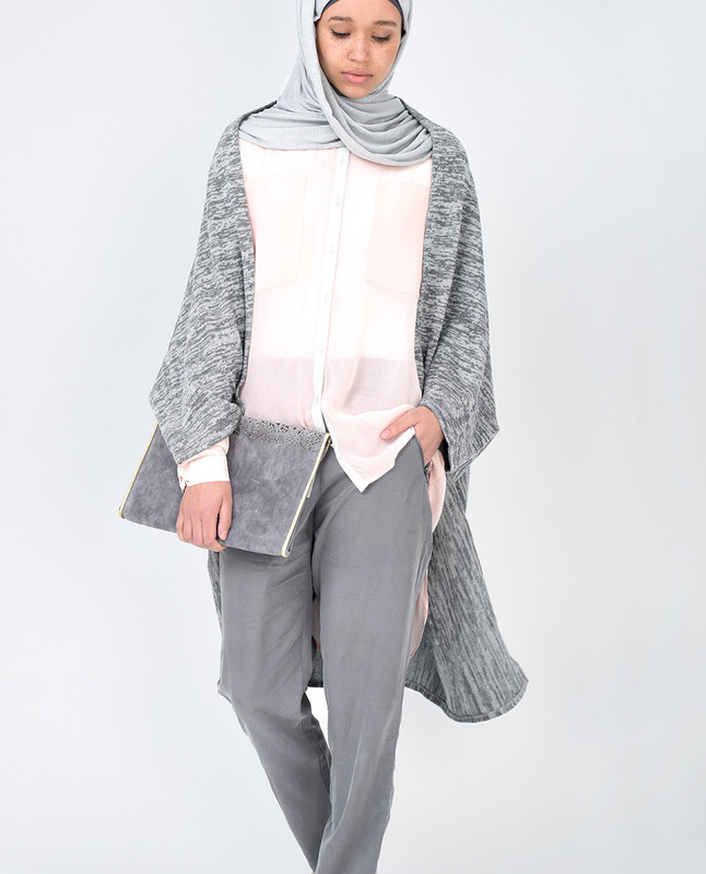Light Grey Batwing Cardigan