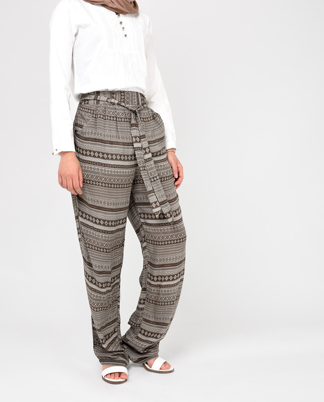 Brown Rayon Loose Fit Trousers