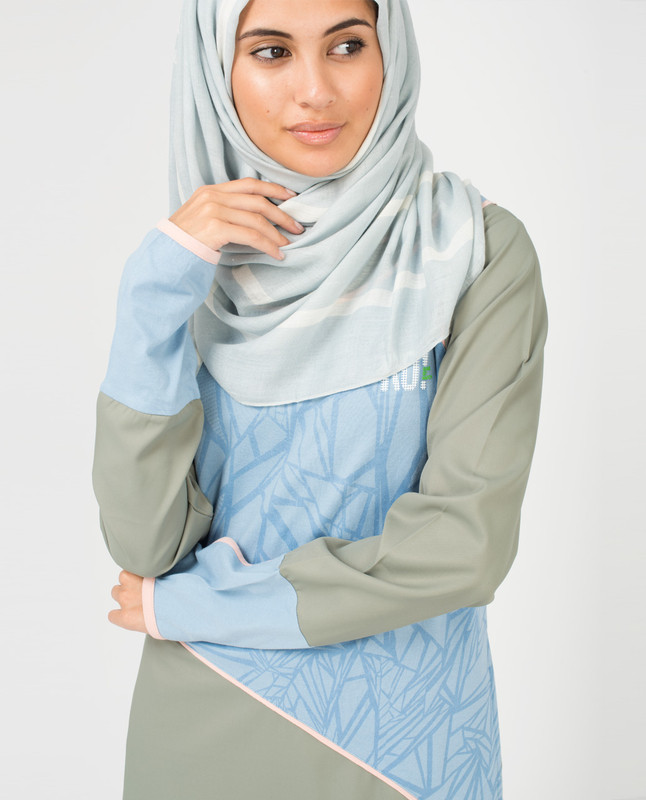 Blue and White Hijab