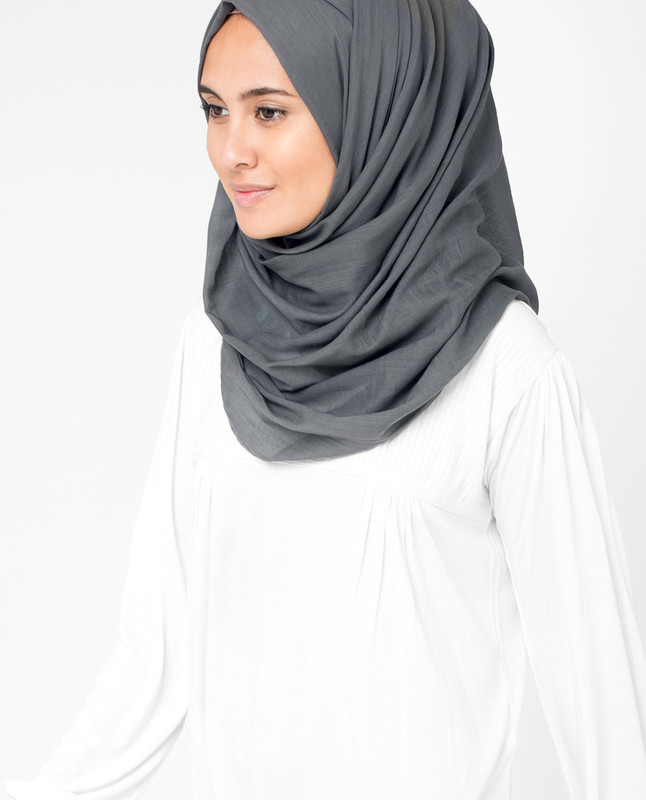 Dark Gull Grey Voile Hijab