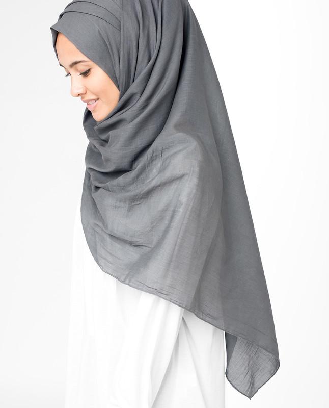 Dark Gull Grey Voile Hijab