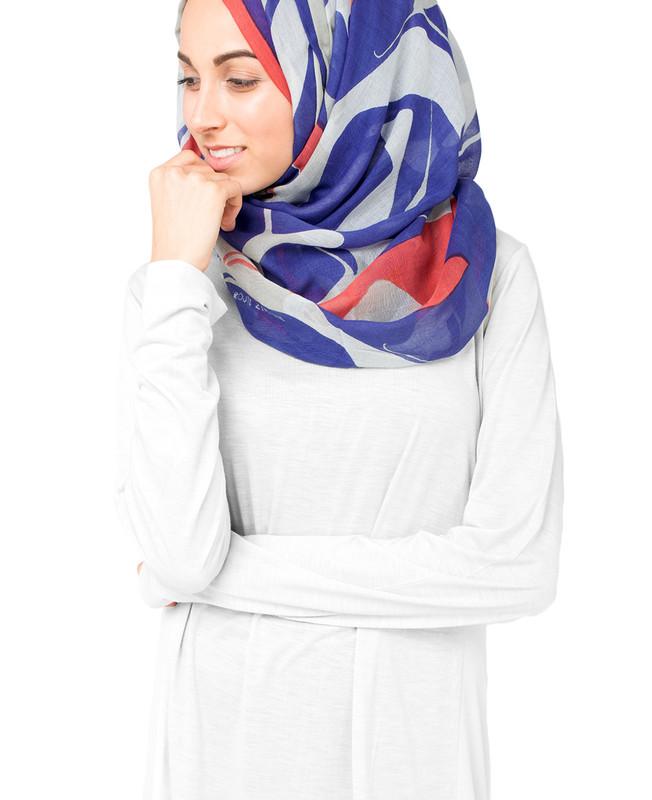 True Blue White Hijab