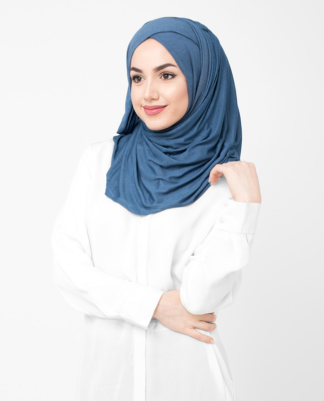 Dark Blue Viscose Jersey Hijab