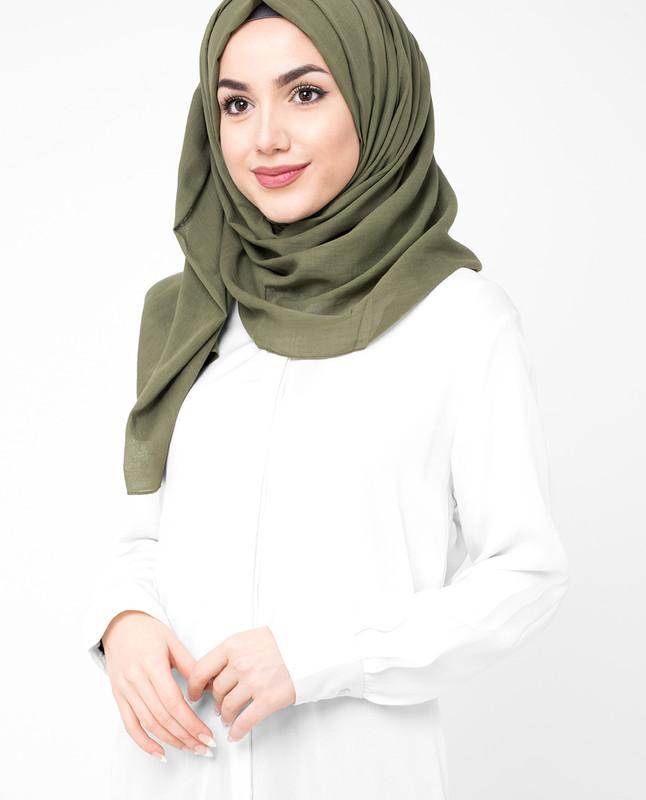 Dark Olive Green Cotton Voile Hijab